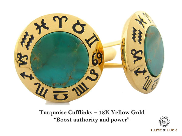 Turquoise Sterling Silver Cufflinks, 18K Yellow Gold plated, Zodiac Model *** Exclusive Cufflinks for Sagittarius ***