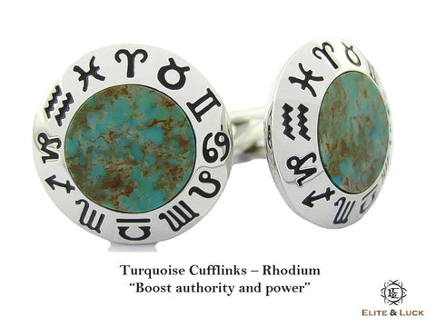 Turquoise Sterling Silver Cufflinks, Rhodium plated, Zodiac Model *** Exclusive Cufflinks for Sagittarius ***