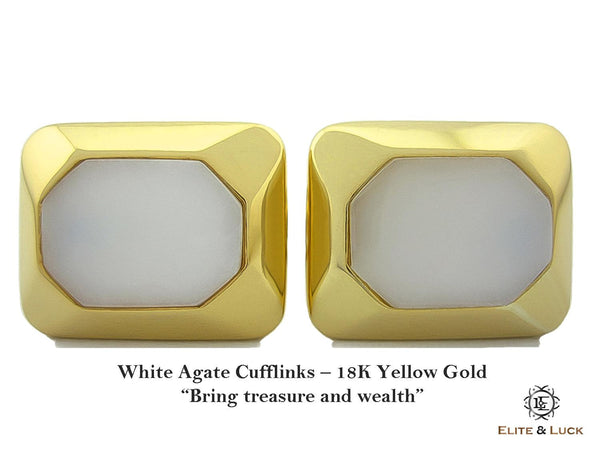 White Agate Sterling Silver Cufflinks, 18K Yellow Gold plated, Modern Model