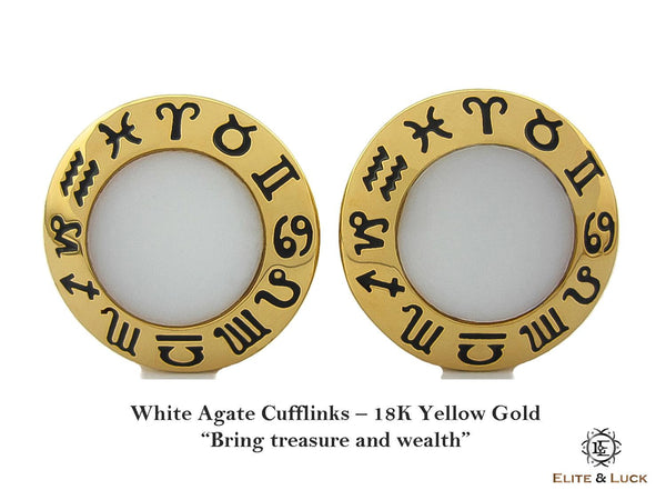 White Agate Sterling Silver Cufflinks, 18K Yellow Gold plated, Zodiac Model *** Exclusive Cufflinks for Aquarius ***