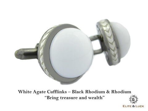 White Agate Sterling Silver Cufflinks, Black Rhodium & Rhodium plated, Limited Model