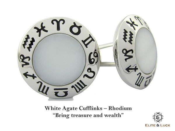 White Agate Sterling Silver Cufflinks, Rhodium plated, Zodiac Model *** Exclusive Cufflinks for Aquarius ***
