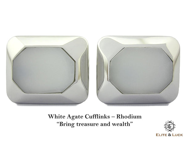 White Agate Sterling Silver Cufflinks, Rhodium plated, Modern Model