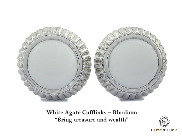 White Agate Sterling Silver Cufflinks, Rhodium plated, Elegant Model