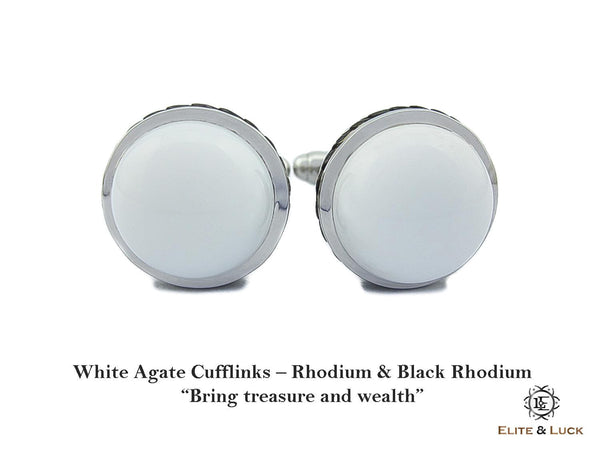 White Agate Sterling Silver Cufflinks, Rhodium & Black Rhodium plated, Limited Model