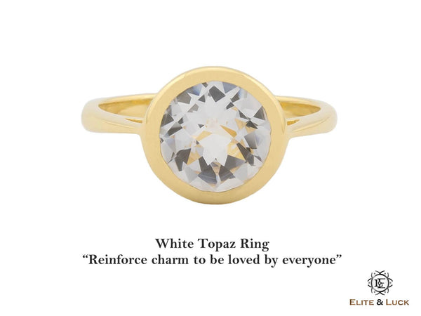 White Topaz Sterling Silver Ring, 18K Yellow Gold plated, Dashing Model