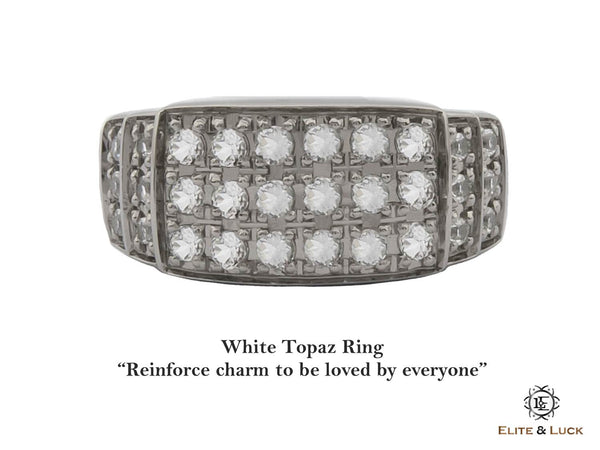 White Topaz Sterling Silver Ring, Black Rhodium plated, Noble-II Model
