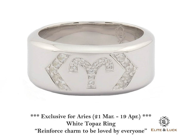 White Topaz Sterling Silver Ring, Rhodium plated, Zodiac Model *** Exclusive for Aries ***