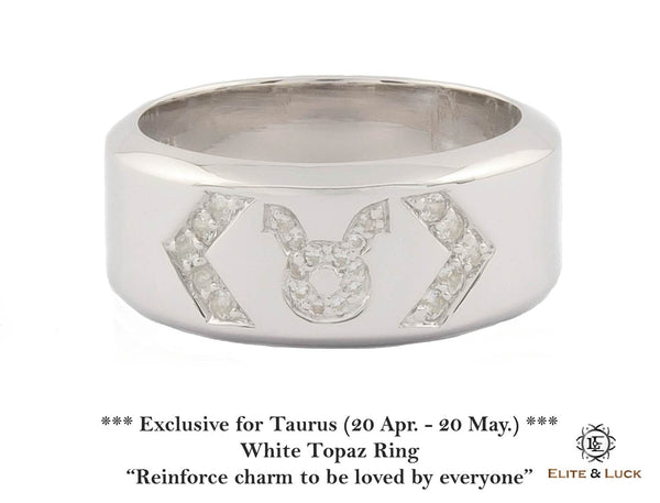 White Topaz Sterling Silver Ring, Rhodium plated, Zodiac Model *** Exclusive for Taurus ***