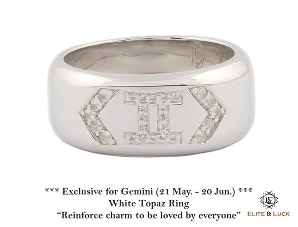 White Topaz Sterling Silver Ring, Rhodium plated, Zodiac Model *** Exclusive for Gemini ***