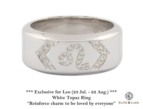 White Topaz Sterling Silver Ring, Rhodium plated, Zodiac Model *** Exclusive for Leo ***