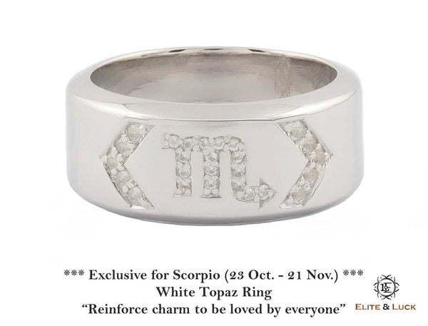 White Topaz Sterling Silver Ring, Rhodium plated, Zodiac Model *** Exclusive for Scorpio ***