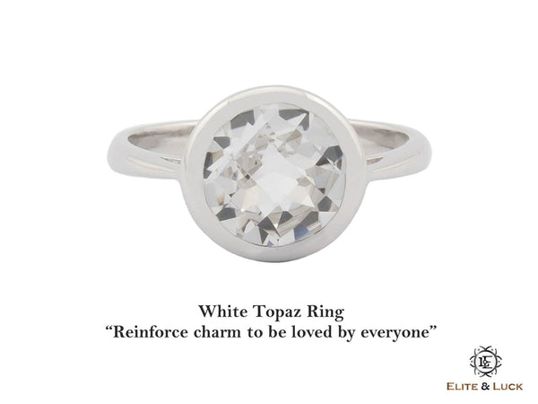 White Topaz Sterling Silver Ring, Rhodium plated, Dashing Model