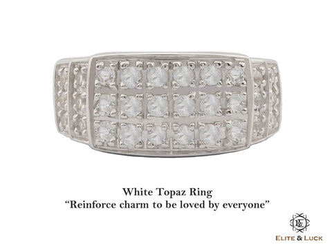 White Topaz Sterling Silver Ring, Rhodium plated, Noble-II Model