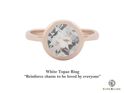 White Topaz Sterling Silver Ring, Rose Gold plated, Dashing Model