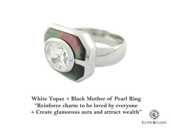 White Topaz + Black Mother of Pearl Sterling Silver Ring, Rhodium plated, Charming Model