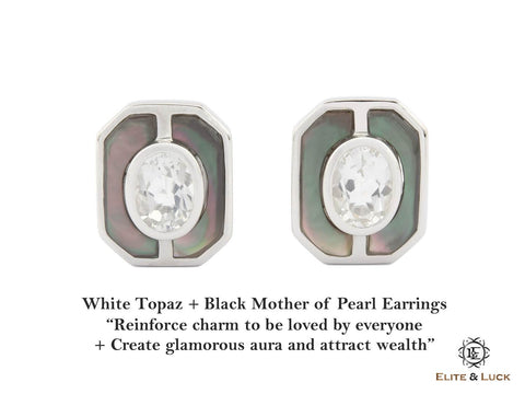 White Topaz + Black Mother of Pearl Sterling Silver Earrings, Rhodium plated, Charming Model