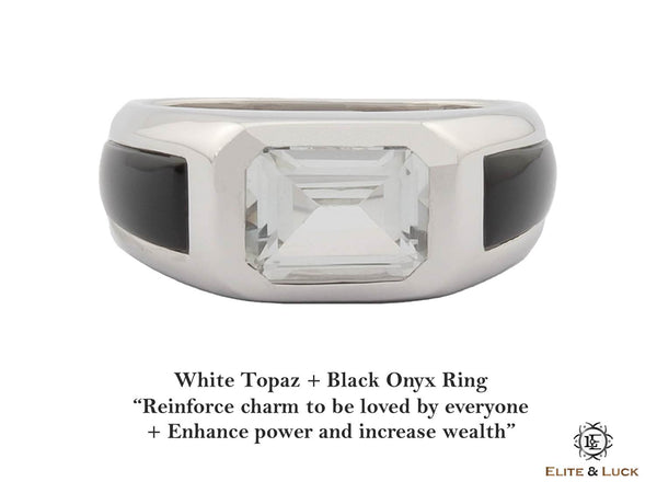 White Topaz + Black Onyx Sterling Silver Ring, Rhodium plated, Majestic Model