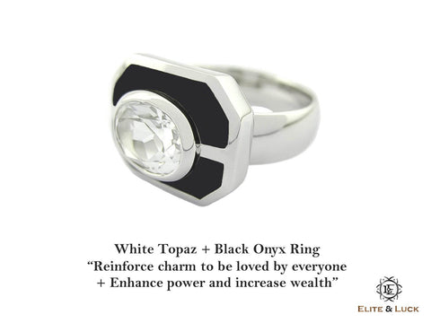 White Topaz + Black Onyx Sterling Silver Ring, Rhodium plated, Charming Model
