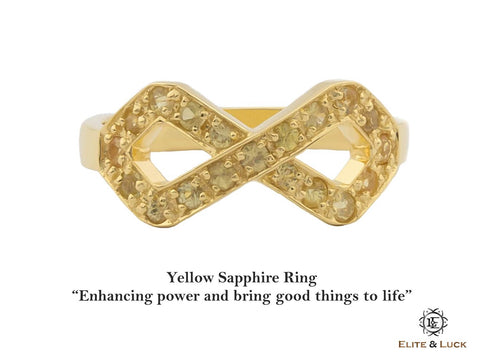 Yellow Sapphire Sterling Silver Ring, 18K Yellow Gold plated, Infinite Model