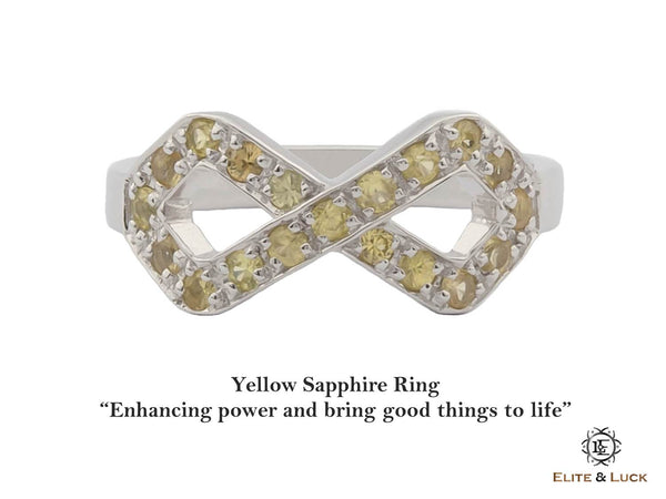 Yellow Sapphire Sterling Silver Ring, Rhodium plated, Infinite Model