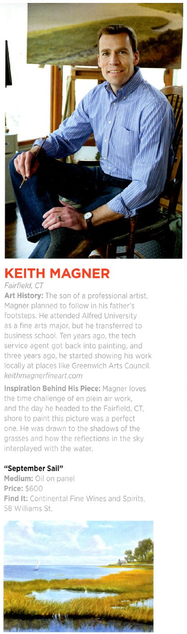 Serendipity Magazine article - Keith Magner featured in an article on local artists.  See oil paintings for sale that can make unique gifts for those who like coastal art, plein air paintings and landscape paintings under available paintings