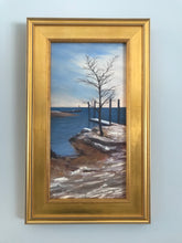 "Load image into Gallery viewer, This original plein air oil painting was painted onsite in Southport, CT.  It is painted on archival quality canvas covered panel with professional oil pigments.  The painting itself measures 16X8"". The measurements including the frame are approximately 19.75X11.75"" and the painting is framed, wired and ready to hang."