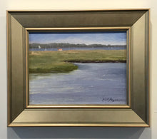 "Load image into Gallery viewer, This original plein air oil painting was painted onsite at Jack knife Beach in Chatham, MA. It is painted on archival quality canvas covered panel with professional oil pigments.  The painting itself measures 9X12"". The measurements including the frame are approximately 13.5X16.5"" and the painting is framed, wired and ready to hang."