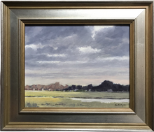 "Load image into Gallery viewer, This original plein air oil painting was painted onsite at Ash Creek in Fairfield, CT.  It is painted on archival quality canvas covered panel with professional oil pigments.  The painting itself measures 8X10"". The measurements including the frame are approximately 12.5X14.5"" and the painting is wired and ready to hang.  Paintings this size are ideal wall art for a small space and can make a unique gift."