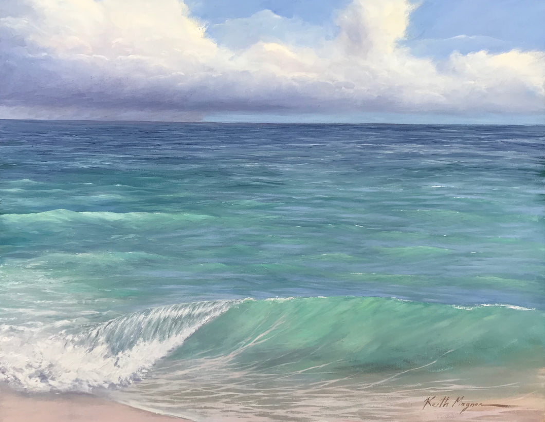 This original oil painting is painted on archival quality stretched linen with professional oil pigments.  Inspired by the white sand beaches of Providenciales in Turks and Caicos. The painting itself measures 22X28