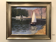 "Load image into Gallery viewer, This original oil painting is painted on archival quality canvas with professional oil pigments.  The painting including frame measures 17X21"". The painting is Framed, wired and ready to hang on the wall."