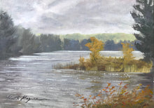 "Load image into Gallery viewer, This original plein air oil painting was painted onsite in Easton, CT.  It is painted on archival quality canvas covered panel with professional oil pigments.  The painting itself measures 5X7"". The measurements including the frame are approximately 8.75X10.75"" and the painting is wired and ready to hang."