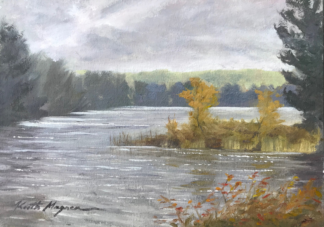 This original plein air oil painting was painted onsite in Easton, CT.  It is painted on archival quality canvas covered panel with professional oil pigments.  The painting itself measures 5X7