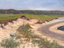 "Load image into Gallery viewer, This original plein air oil painting was painted on Forest Beach in Chatham MA. It is painted on archival quality canvas covered panel with professional oil pigments.  The painting itself measures 9X12"". The measurements including the frame are approximately 13.5X16.5"" and the painting is wired and ready to hang."