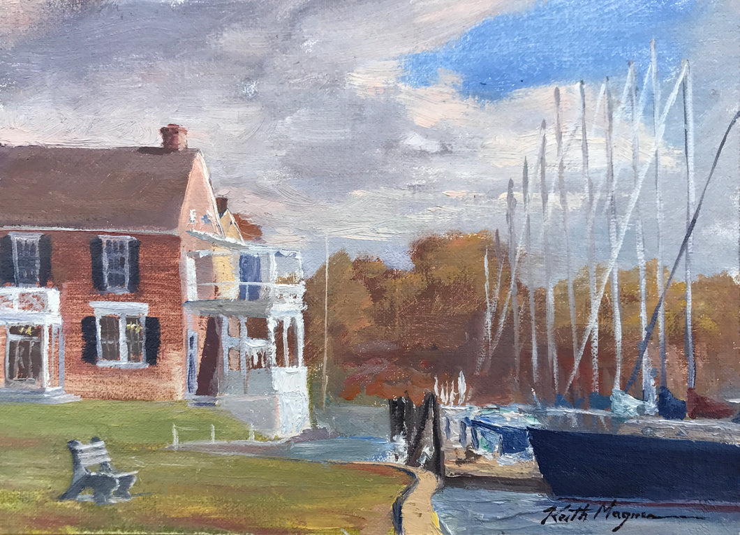 This original plein air oil painting was painted onsite in Southport, CT. overlooking Pequot Yacht Club It is painted on archival quality canvas covered panel with professional oil pigments.  The painting itself measures 5X7