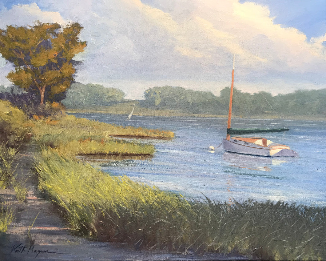This original studio painting was painted using plein air studies completed at Riders Cove in Chatham, MA. It is painted on archival quality canvas covered panel with professional oil pigments. The painting itself measures 16X20