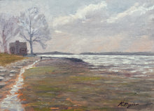 "Load image into Gallery viewer, This original plein air oil painting was painted onsite at Sasco beach in Fairfield, CT.  It is painted on archival quality canvas covered panel with professional oil pigments.  The painting itself measures 5X7"". The measurements including the frame are approximately 8.75X10.75"" and the painting is framed, wired and ready to hang."
