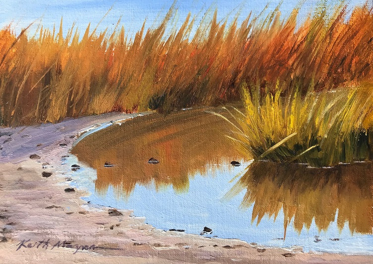 This original plein air oil painting was painted onsite in Southport, CT.  It is painted on archival quality canvas covered panel with professional oil pigments.  The painting itself measures 5X7
