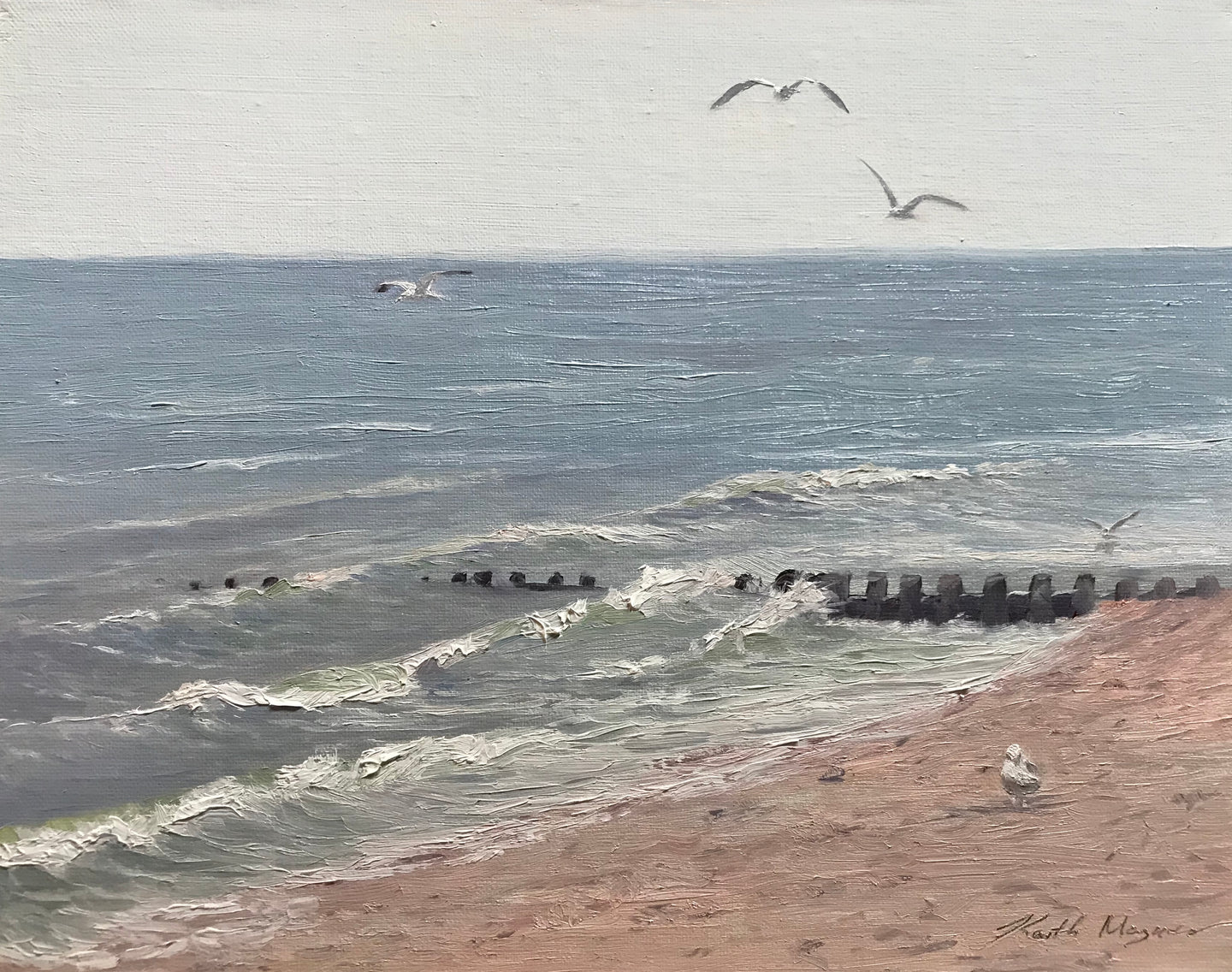 This original plein air oil painting was painted onsite at Compo Beach in Westport, CT.  It is painted on archival quality canvas covered panel with professional oil pigments.  The painting itself measures 8X10