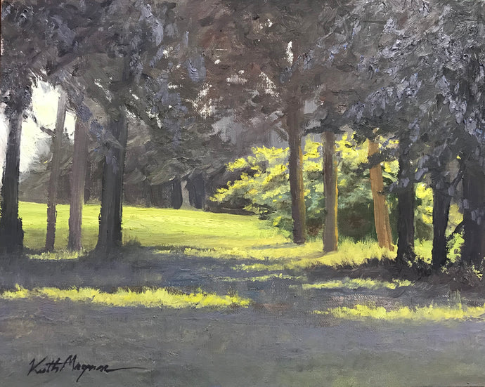 This original plein air oil painting was painted onsite at Fairchild Wheeler Golf Course.  It is painted on archival quality canvas covered panel with professional oil pigments.  The painting itself measures 8X10