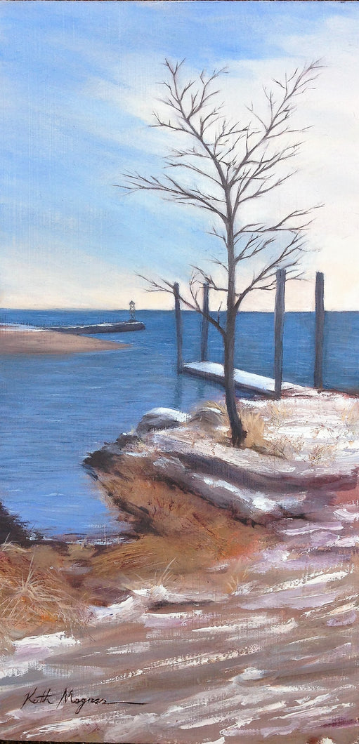 This original plein air oil painting was painted onsite in Southport, CT.  It is painted on archival quality canvas covered panel with professional oil pigments.  The painting itself measures 16X8