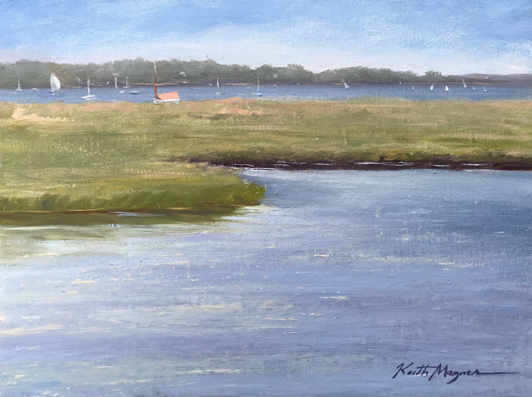 This original plein air oil painting was painted onsite at Jack knife Beach in Chatham, MA. It is painted on archival quality canvas covered panel with professional oil pigments.  The painting itself measures 9X12