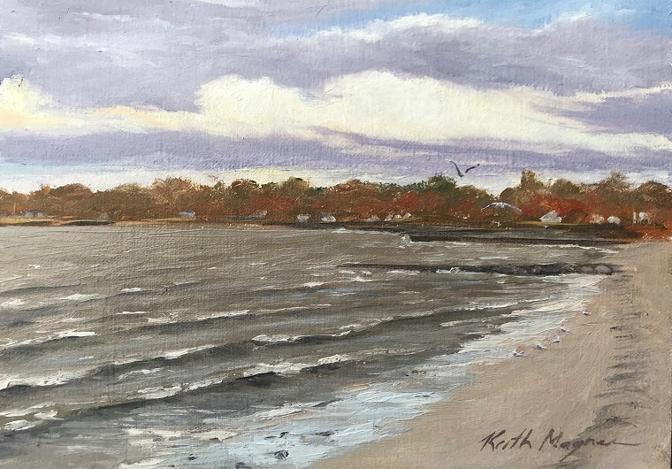 This original plein air oil painting was painted onsite at Sasco Hill Beach in Fairfield, CT.  It is painted on archival quality canvas covered panel with professional oil pigments.  The painting itself measures 5X7