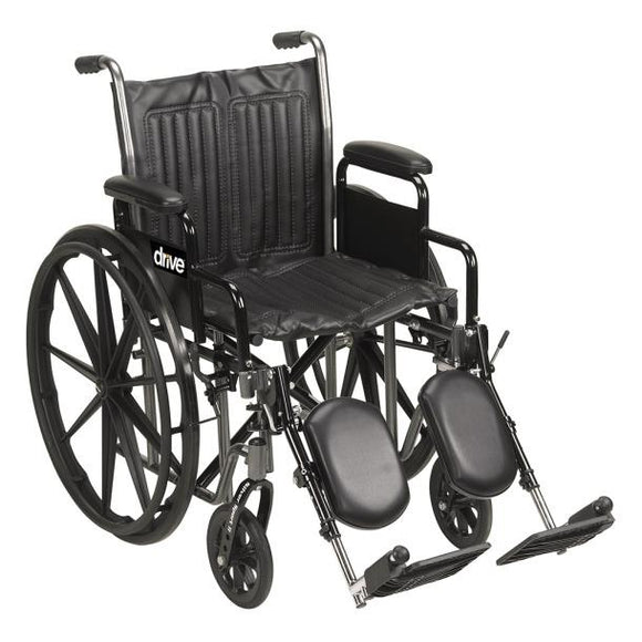 Drive Medical Silver Sport 2 Wheelchair, Detachable Full Arms, Swing Away Footrests, 18