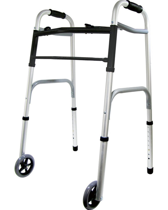 Deluxe 2-Button Folding Walker with 5