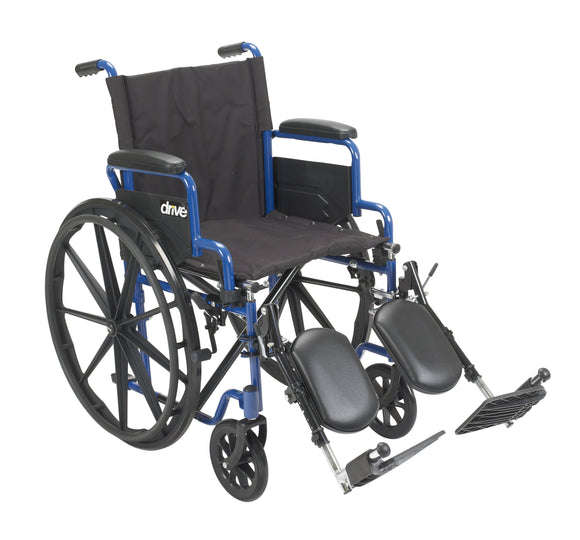 Blue Streak Wheelchair with Flip Back Desk Arms, Elevating Leg Rests, 18