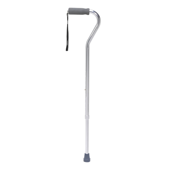 Foam Grip Offset Handle Walking Cane, Silver