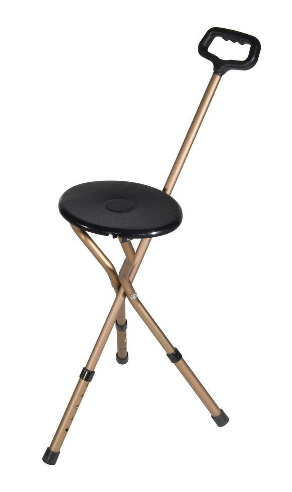 Folding Lightweight Cane Seat, Adjustable Height, Bronze