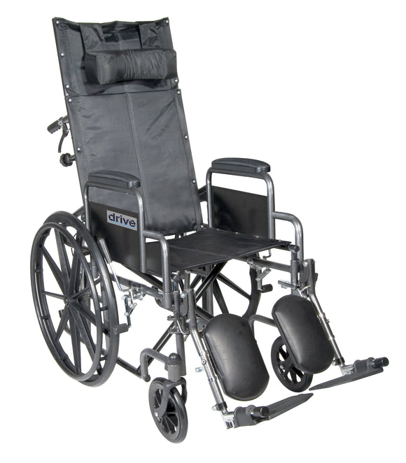Silver Sport Reclining Wheelchair with Elevating Leg Rests, Detachable Desk Arms, 20