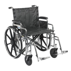 "Sentra Extra Heavy Duty Wheelchair, Detachable Desk Arms, Swing away Footrests, 22"" Seat"